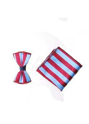 Claret & Blue Striped Mens Silk Wedding Bow Tie Pocket Square Handkerchief Set