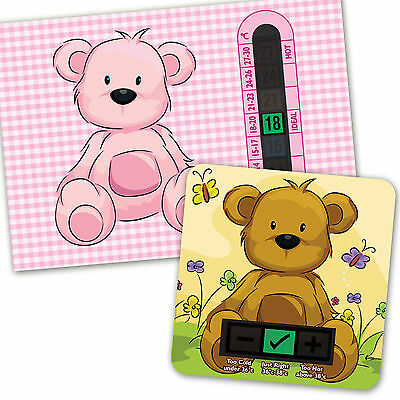Baby Bath & Room Thermometer - Pink Beige Teddy Bear  Set