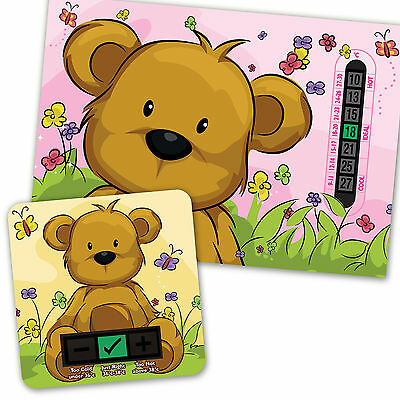 Pink Teddy Bear  A5 Room Thermometer & Beige Bear  Bath Thermometer Set