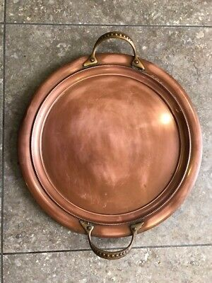 Antique Arts and crafts Copper tray  with brass handles