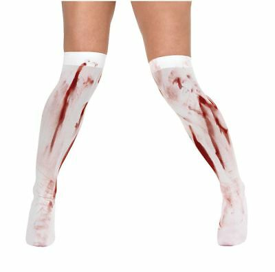 Zombie Blood Stained Splatter Hold Up Stockings Socks Fancy Dress Accessory