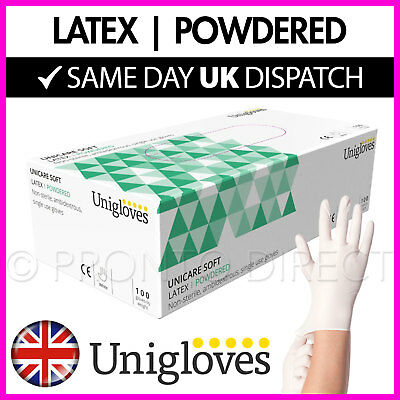 Latex Gloves Lightly Powdered Strong Disposable UNIGLOVES White - Box of 100