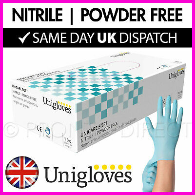 Blue Nitrile Disposable Gloves | Box of 100 | Powder Free Latex Free UNIGLOVES