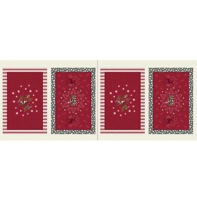 Lewis & Irene Countryside Christmas Place Mats - Red - Cotton Fabric Quilting