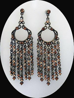 Vintage Chandelier Earrings with Topaz and Smoked Topaz Australia Crystal E2125B