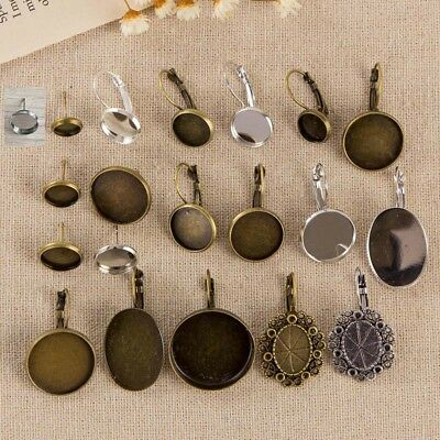 Antique Bronze Cabochon Earrings Setting Collection Posts Studs Setting Tacks