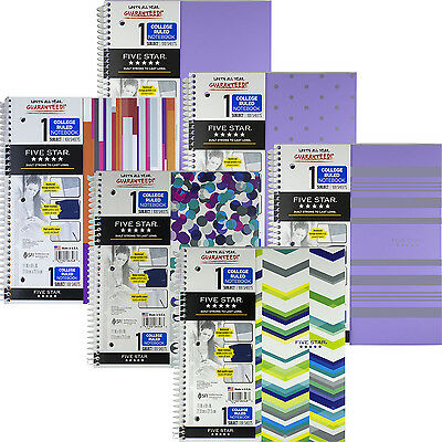 mead five star 1 subject spiral notebook college ruled 11 x 85 in
