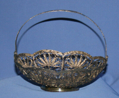 Antique Art Deco Russian Silver Plated Filigree Basket Bowl