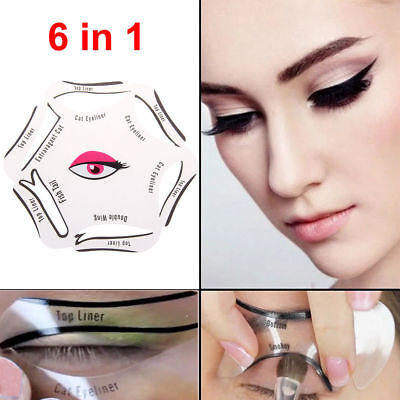NEW 6 in 1 Eyeliner Stencil Set Makeup Guide Quick Cat Eye Liner Tool Liquid UK