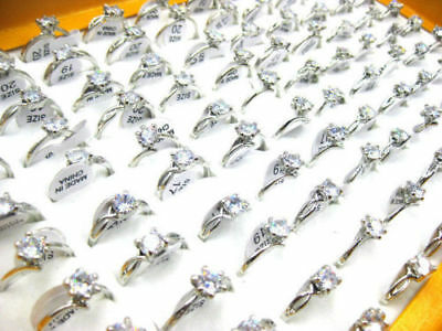 FREE Wholesale Mixed Jewelry 12pcs Resale Zirconia Stainless Steel Women's Rings