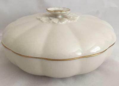 """7"""" Lenox """"Primrose Collection"""" Candy Dish w/Lid Cream, Gold Trim Made in USA"""