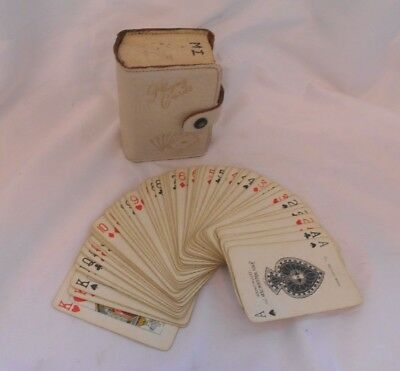 VINTAGE Set Pack of PLAYING CARDS in LEATHER Original CASE Casino 300 Deck