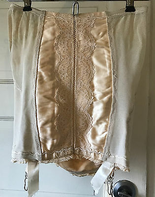 Vintage Girdle ISIS Lace Garters Beige Lace and Satin Panels
