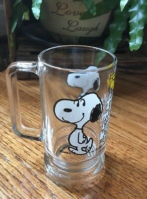 Vintage Snoopy Woodstock Root Beer Mug Glass 1965 Peanuts