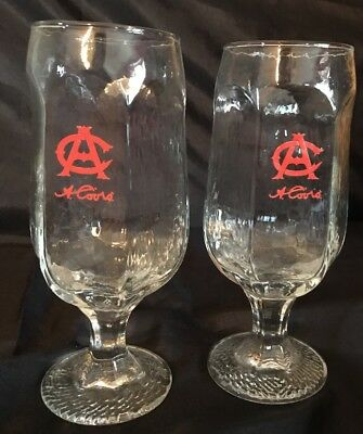 Vintage set of 2 AC COORS Stem Beer Glasses Adolph Coors 12 oz. Clear hexagon