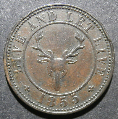Pub token - Wyndham Arms 3d 1855 Swansea - Wakefield and Birt threepence 24mm
