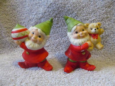 vintage set  #5415 homco elves with teddy bear and ornament