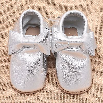 Baby Trainers Genuine Leather Soft Sole Silver Infant Prewalker Crib Shoes 6-12M