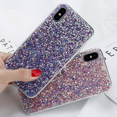 Bling Glitter Sparkle Rubber Soft TPU Protective Case Cover For Apple iPhone X
