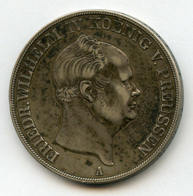 GERMANY-PRUSSIA 1855 Kg.WILHELM IV 2 THALER,OLD TONING CHOICE VF+XF.