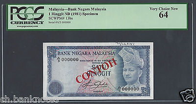 Malaysia 1 Ringgit ND(1981) P13bs Specimen Choice Uncirculated