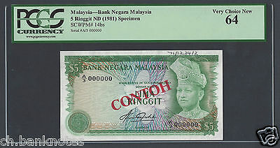 Malaysia 5 Ringgit N(1981) P14bs Specimen Uncirculated