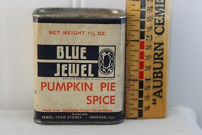 Rare Antiq Blue Jewel N Black&orange Litho Label On Crdbrd Punkin Pie Spice Tin