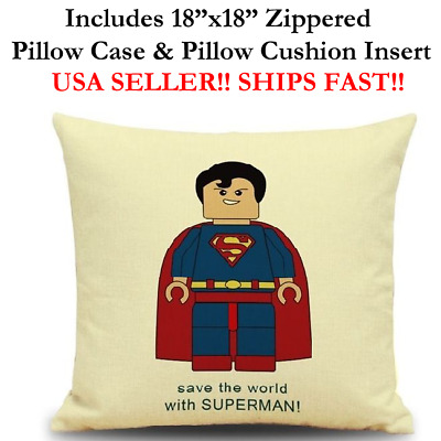 "18x18 18"" SUPER MAN SUPERMAN LEGO MINI FIGURES Throw Zippered Pillow Cushion"