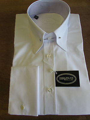 BRAVO MENS WHITE POINTED COLLAR PIN SHIRT, DOUBLE CUFF, low stock.