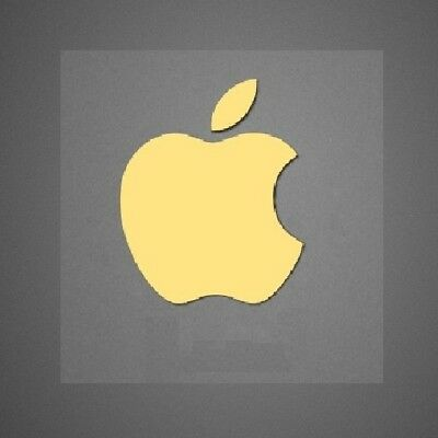 2 x Gold Apple Logo Decal for iPhone Metallic Stickers 14mm x 17mm Approx