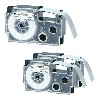3 PK Compatible for Casio XR-18WE Black on White Label Tape for EZ Print KL-C500