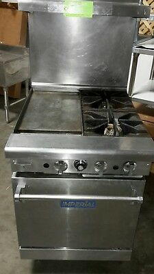 "Used 24"" Imperial L.P. Gas Range with (2)Burners, 12"" Griddle and Oven"