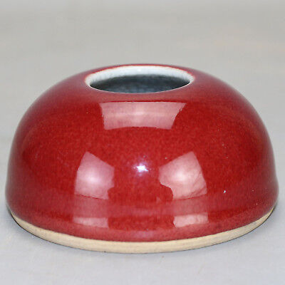 Chinese old hand-carved porcelain red glaze writing-brush washer