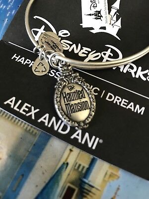 Disney Alex and Ani Haunted Mansion SILVER Bracelet Bangle Sign Gate Plaque