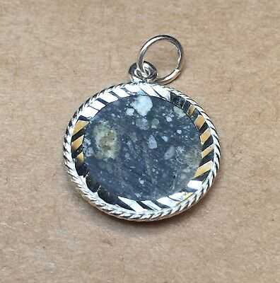 NWA 10253 Silver Moon Pendant (L) Lunar Part Slice by Meteorite Men Steve