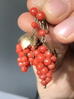 Antique Italian Coral Gilt Silver Earrings Fabulous Quality
