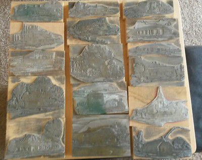 Lot of 16 Vintage Printing Blocks Buildings Cabins Churches Watermill New Mexico