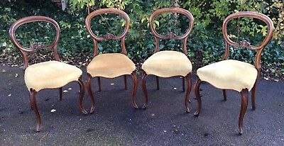 Set of 4 Victorian Upholstered Balloon Dining Room Chairs