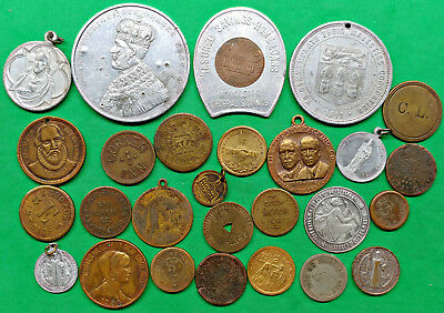 Mixed Odd Lot 27 Tokens Medal Billiards Elks Club Packing Inn Liberty Bell More