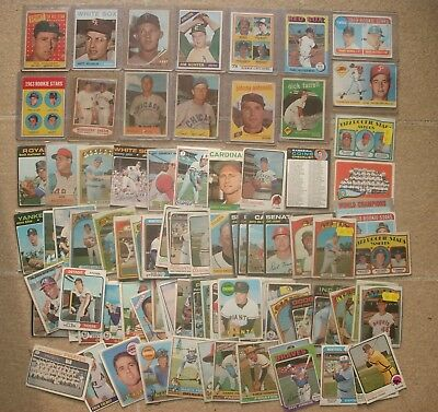 Vintage Baseball Card Lot of 100 Ted Williams Mickey Mantle Willie Mays 1950s-70