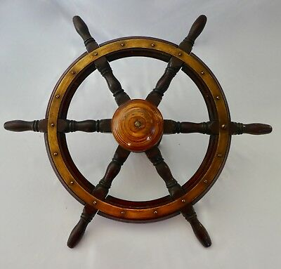 "Antique Solid Wood SHIP'S WHEEL from Sailing Ship. 6 Spokes. 24"" Diameter. 1930"