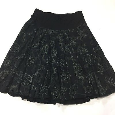 Motherhood Maternity Skirt Medium Flowy Boho Knee Length Black Floral Pleated