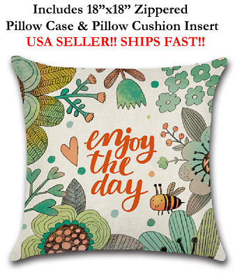 """18x18 18"""" ENJOY THE DAY BEE FLOWERS FLORAL LOVE Throw Zippered Pillow Cushion"""
