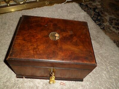 "Antique Lge Sewing Box 12""across 71/2"" Deep. Hidden Cantilever"