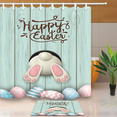 """Easter bunny and egg on wooden board Shower Curtain Bathroom Decor & 12hooks 71"""""""