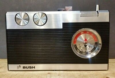 WORKING Bush VTR225 Vintage FM AM Portable Pocket Transistor Radio & Case 1970s
