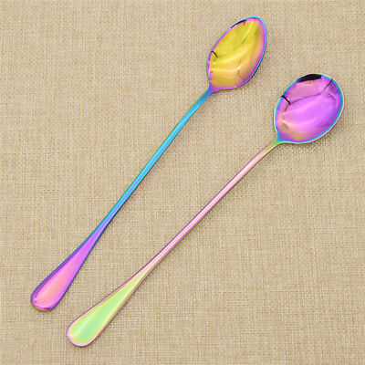 Fashion Stainless Steel Rainbow Spoons Colourful Tableware Set Kitchen Luxury