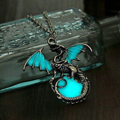 Dragon Necklace Glow In The Dark Silver Chain Jewelry Ancient Pendant Punk Gift