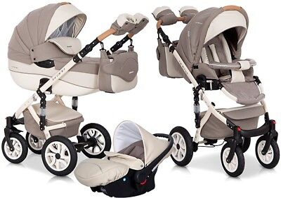 RIKO BRANO ECCO LATTE 14 PRAM 3in1 CARRYCOT + PUSH CHAIR + CAR SEAT