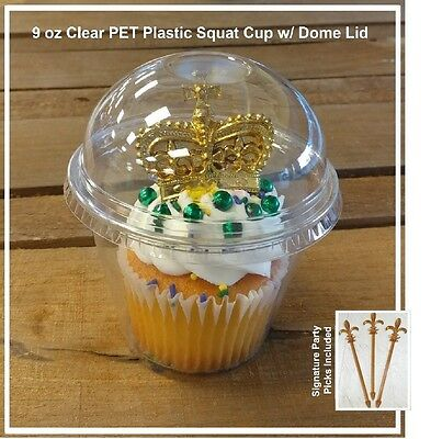 50-pack Take n' Go Cup, 9 oz Clear Plastic Cupcake / Parfait Cup w/ Dome Lid